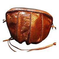 Esteve Spain Cobra Snakeskin Purse Brown Bucket Style