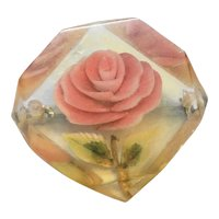 Pink Rose Reverse Carved Lucite Pin Brooch