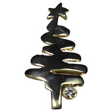 Christmas Tree Pin Gold Tone Clear Rhinestone