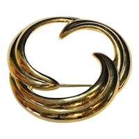 Napier Gold Tone Wreath Circle Pin
