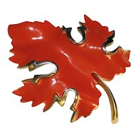 Red Orange Enamel Fall Autumn Maple Leaf Pin