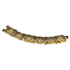 Trifari Signed Etruscan Style Gold Tone Floral Filigree Link Bracelet