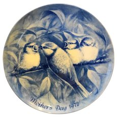 Berlin Design Blue China Plate Mother's Day 1972 Robin Redbreast