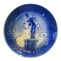 Desiree Shepherdess Chimney Sweep 1974 Svend Jensen Christmas Plate Blue White