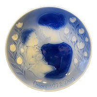 Desiree Mors Dag Mothers Day Plate Good Night 1972 Blue White Porcelain