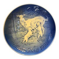 Bing Grondahl Mother's Day 1991 Nanny Goat Kids Plate