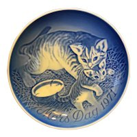 Bing Grondahl Mors Dag Mothers Day Plate Cat Kittens 1971 Blue White Porcelain