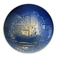 Bing Grondahl Jule After 1976 Christmas Welcome Plate Blue White
