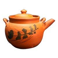 Yixing Zisha Rust Orange Clay Teapot Small Hand Painted Flowers