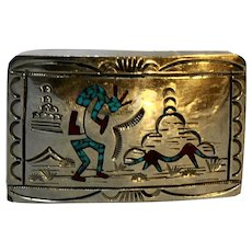 Kokopelli Navajo Sterling Turquoise Coral Inlay Belt Buckle WCB Signed