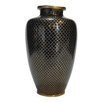 19th Century Fish Scale Cloisonne Brass Vase Chinese