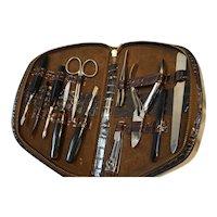 Brown Leather Manicure Vanity Set Germany Austria Midcentury