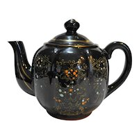 Moriage Hand Painted Redware Brown Glazed Teapot Made in Japan 1950s