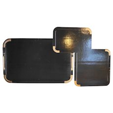 Black Lacquerware Nesting Trays Set Vintage New Old Stock