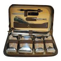 Leather Vintage Men's Vanity Grooming Kit 9 Pieces Germany Austria