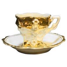 Porcelain Demitasse Cup Saucer Set Gold Slip Relief