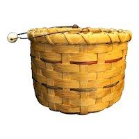 Wood Splint Basket Ceramic Handle Birdhouse Painted