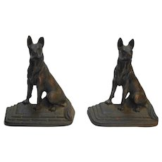 Cast Metal Copper Finish German Shepherd Dogs Bookends 1920s