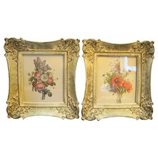 Floral Botanical Art Prints Ornate Cream Painted Frames