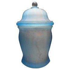 Indiana Glass Tiara Exclusives Ice Blue Satin Frosted Canister Apothecary Jar