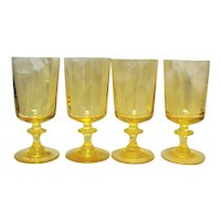 Yellow Blown Glass Goblets Stems Panel Optic