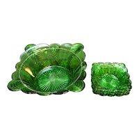 US Glass Florida Emerald Green Bowls EAPG 1898 Herringbone