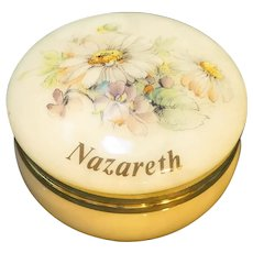 Alabaster Italian Small Round Box Flowers Decoration Nazareth Souvenir