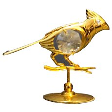 Austrian Crystal Mascot  24K Gold Plated Bird Figurine