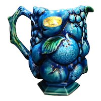 Inarco Mood Indigo Blue Green Fruit Grapes 24 Oz Pitcher Japan