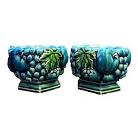 Inarco Mood Indigo Blue Green Fruit Grapes Low Pillar Candle Holders Japan