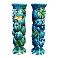 Inarco Mood Indigo Blue Green Fruit Grapes Bud Vases Pair Japan