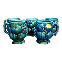 Inarco Mood Indigo Blue Green Fruit Grapes Mugs Set of 5 Japan