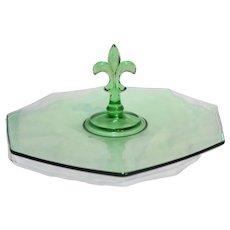 Fostoria Green Depression Glass Fleur De Lis Center Handle Octagonal Tidbit Sandwich Tray