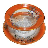Orange Band Reverse Painted Enamel Flowers Depression Glass Bowl Underplate