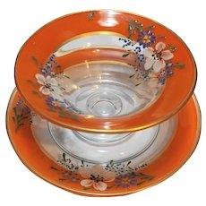 Orange Band Reverse Painted Enamel Flowers Depression Glass Bowl Underplate
