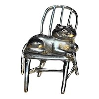 JJ Jonette Jewelry Cat on a Chair Pin Pewter Tone
