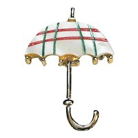 Mother of Pearl Umbrella Pin Red Green Stripe Plaid