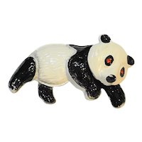 Panda Enamel Trembler Pin White Black