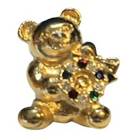 Teddy Bear Rhinestone Christmas Wreath Pin