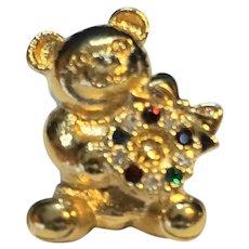 Teddy Bear Rhinestone Christmas Wreath Pin