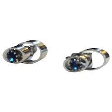 Cornflower Blue Rhinestone Silver Tone Oval Clip Earrings