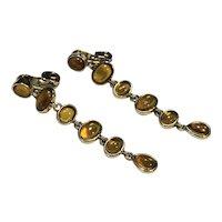 Monet Amber Glass Oval Drop Earrings Clips