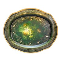 Russian Tole Tray Green Hand Painted Floral