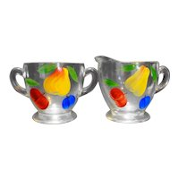 Bartlett Collins Gay Fad Fruit Hand Painted Clear Creamer Sugar