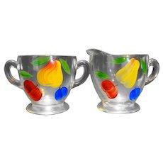 Bartlett Collins Gay Fad Fruit Hand Painted Clear Creamer Sugar