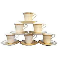 Mikasa Sheraton Fine Ivory China Cups Saucers Set of 6