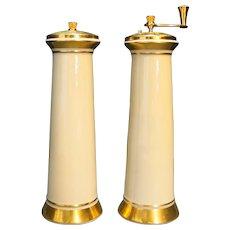 Lenox Ivory China Gold Trim Tall Salt Shaker Pepper Grinder