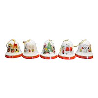 Snoopy Woodstock Peanuts Porcelain Bell Ornaments Large