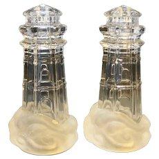 Lenox Crystal Lighthouse Salt Pepper Shakers Pair