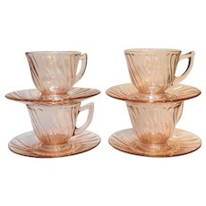 Jeannette Swirl Pink Cups & Saucers Set of 4 Depression Glass